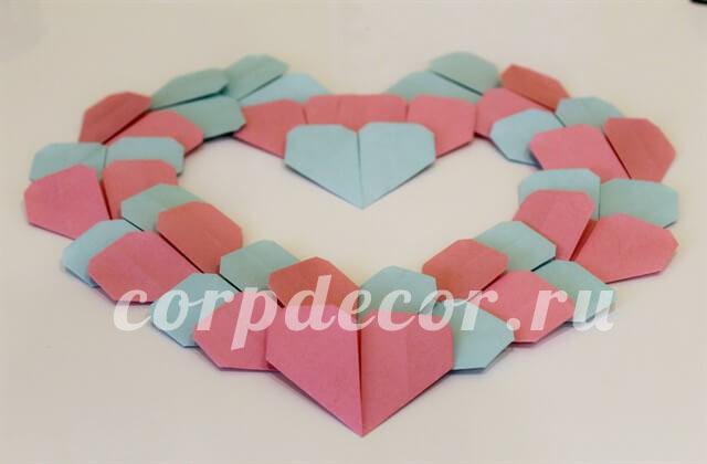 валентинки, оринами, сердце из бумаги