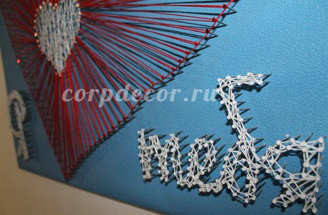 картина нитями, стринг арт, string art