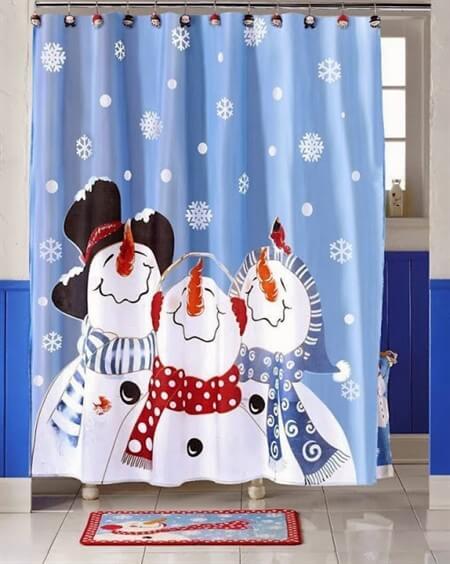 новогодняя шторка для ванной