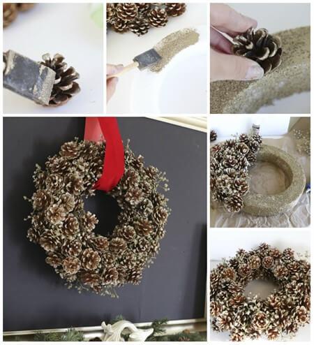 рождественский венок из шишек пошаговая инструкция